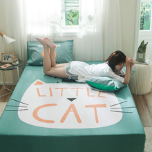 Liv-Esthete Cartoon Fitted Sheet Cat Mattress Cover Bed Linen 100% Cotton Bedding On Elastic Band For Adult Child Home