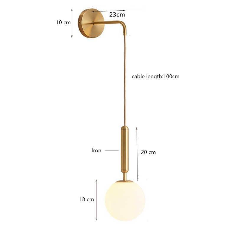 Moderna lâmpada de parede vidro escandinavo wandlamp lâmpada leitura cabeceira redonda apliques murale luminária nordic led luzes parede e27