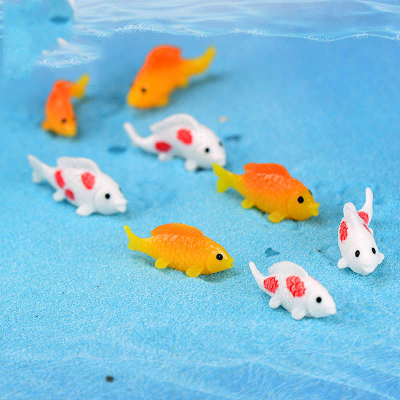 Mini Gold White Grass Carp Fish Goldfish Fishbowl Model Small Figurine Crafts Small Statue DIY Desk Ornament