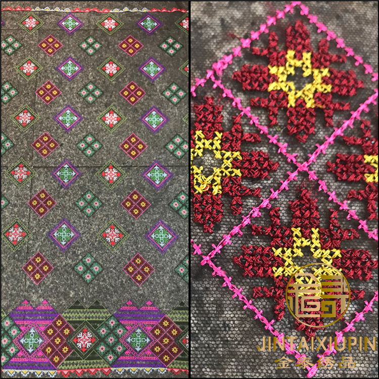 New multicolor cross stitch embroidery fabric Fashion high quality DIY dress clothing accessories fabric summer