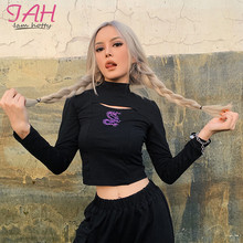 Iamhotty Dragon Printed Hollow Out Black Shirt Turtleneck 2019 Autumn Basic Tshirt Casual Solid Color Crop Top Long Sleeve Tees