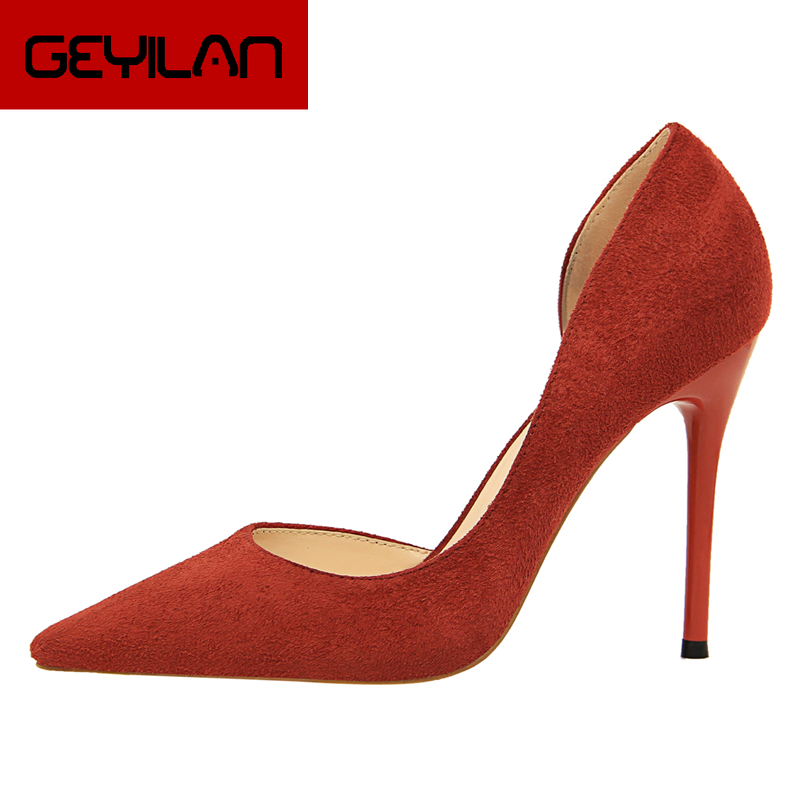 Fashion Sweet Women 10cm High Heels Pumps Female Sexy Pointed Toe Black Red Stiletto High Heels Lady Pink Green Shoes DS A0295 - 2