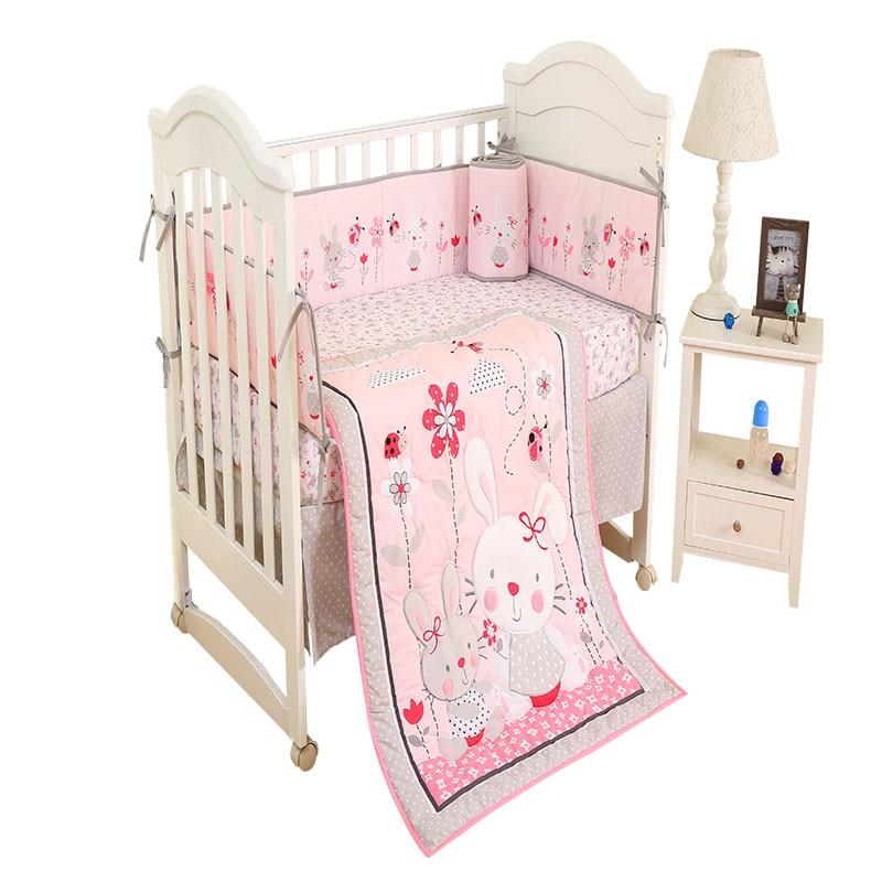 Promotion! 4Pcs/Set Baby Crib Bed Linen Crib Skirt Cot 100% Cotton Cartoon Animals Baby Items  Newborns Baby Bedding Set