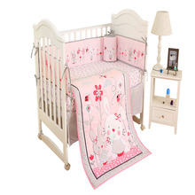 цена на Promotion! 4Pcs/Set Baby Crib Bed Linen Crib Skirt Cot 100% Cotton Cartoon Animals Baby Items  Newborns Baby Bedding Set