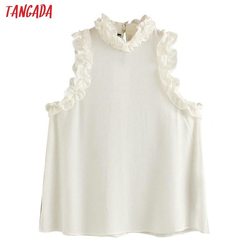 Tangada Women Ruffle White Shirts Summer Sleeveless Solid Elegant Office Ladies Work Wear Blouses 4M147