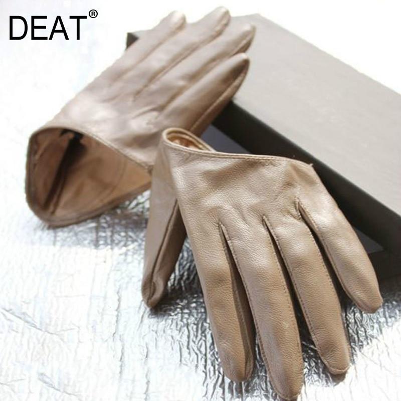 DEAT 2020 New Leather Gloves Ladies Solid Color Five-finger Sheepskin Hip-hop Warm Gloves PC387