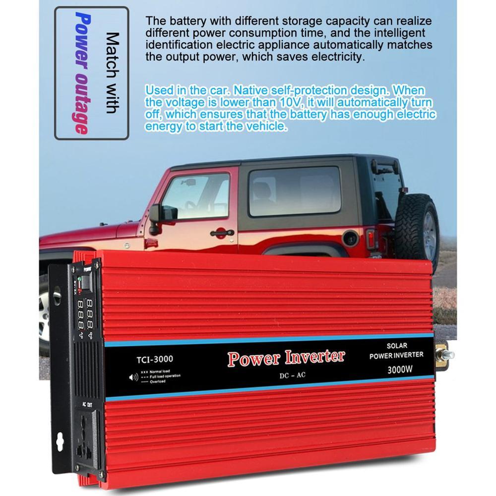 Display duplo inversor de potência do carro conversor usb carregador adaptador onda senoidal modificada 3000/4000/5000/6000 w - 5