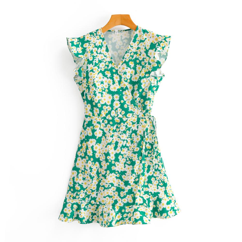 New 2020 Women sweet V-neck little sunflower print mini Dress female Sleeveless green waistband wrap Chic casual Dresses DS3765