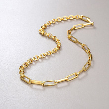 Titanium 2 Styles Chains Linked Necklace Women Stainess Steel  Jewelry Punk Designer Top  Prom Golden Japanese Korean INS Trendy