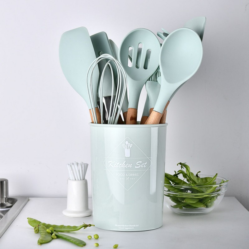 11pcs/set Wooden Handle Silicone Multi-functional Cooking Tool Set Kitchen Utensils  Accessories