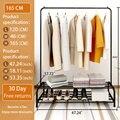 Bofeng cabides de metal rack roupas multifunções 60 Polegada sapato 2020 novo casaco rack mover livremente encontrar loja roupas europeias