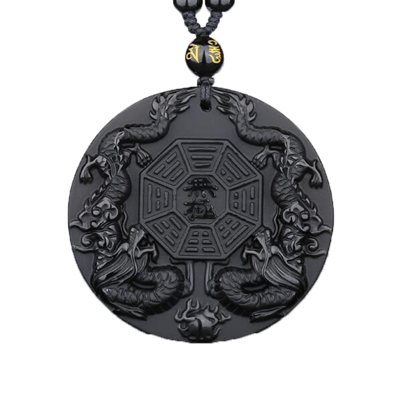 Natural Obsidian Eight Trigrams Double Dragons Pendant Jewelry Lucky To Ward Off Evil Spirits Amulet Jade Pendant Fine Jewelry