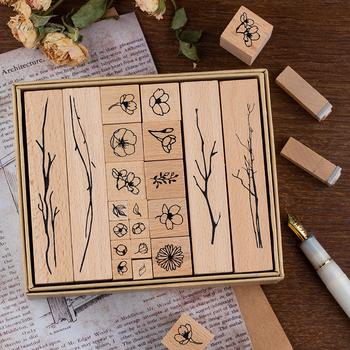 20 sztuk partia Vintage kwiaty oddział dekoracji znaczek drewniane pieczątki do scrapbookingu piśmienne DIY craft standardowy znaczek tanie i dobre opinie LD1800 Drewna