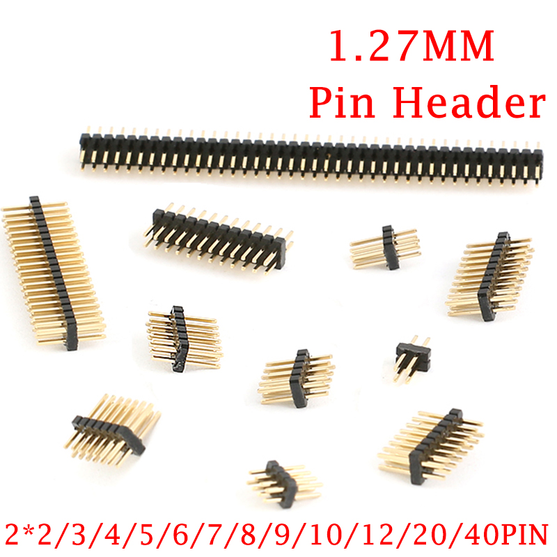 50Pcs 1.27mm 1.27 Double Row Male 2~40P Breakaway PCB Board Pin Header Connector Strip Pinheader 2*3/4/5/6/7/8/10/12/15/20/40p