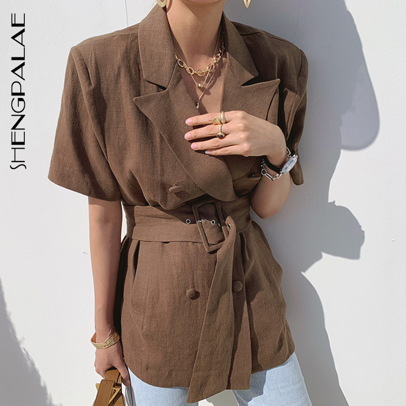 SHENGPALAE 2020 Summer Women Blazers And Jackets Work Office Lady Suit Slim Business Solid Color Short Sleeve Blazer ZA4355