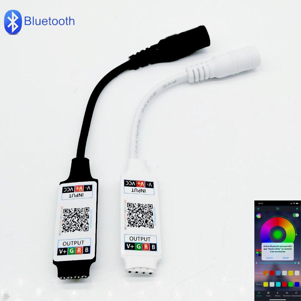 1 шт мини DC5-24V работы при прослушивании музыки по Bluetooth RGB светодиодный смарт-телефон контроллер для 5050 3528 кабель питания с штекерным гнездом ...