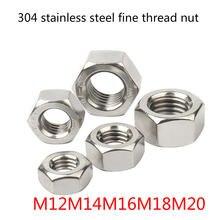 304 нержавеющая сталь мелкая резьба гайка Шестигранная m5m6m8m10m12m14m16m18m20m30