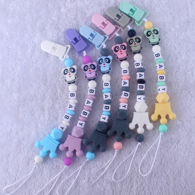 Blue pacifier Clip Cases Elephant bear beads Baby molar Wooden pacifier chain