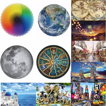 1000 Pieces Jigsaw Puzzles Educational Toy Scenery Space Stars Moon Earth Dropship Round Puzzle Game Toys for Adults Kids Gifts 1000 pieces jigsaw puzzles educational toys scenery space stars educational puzzle toy for kids birthday gift stickers