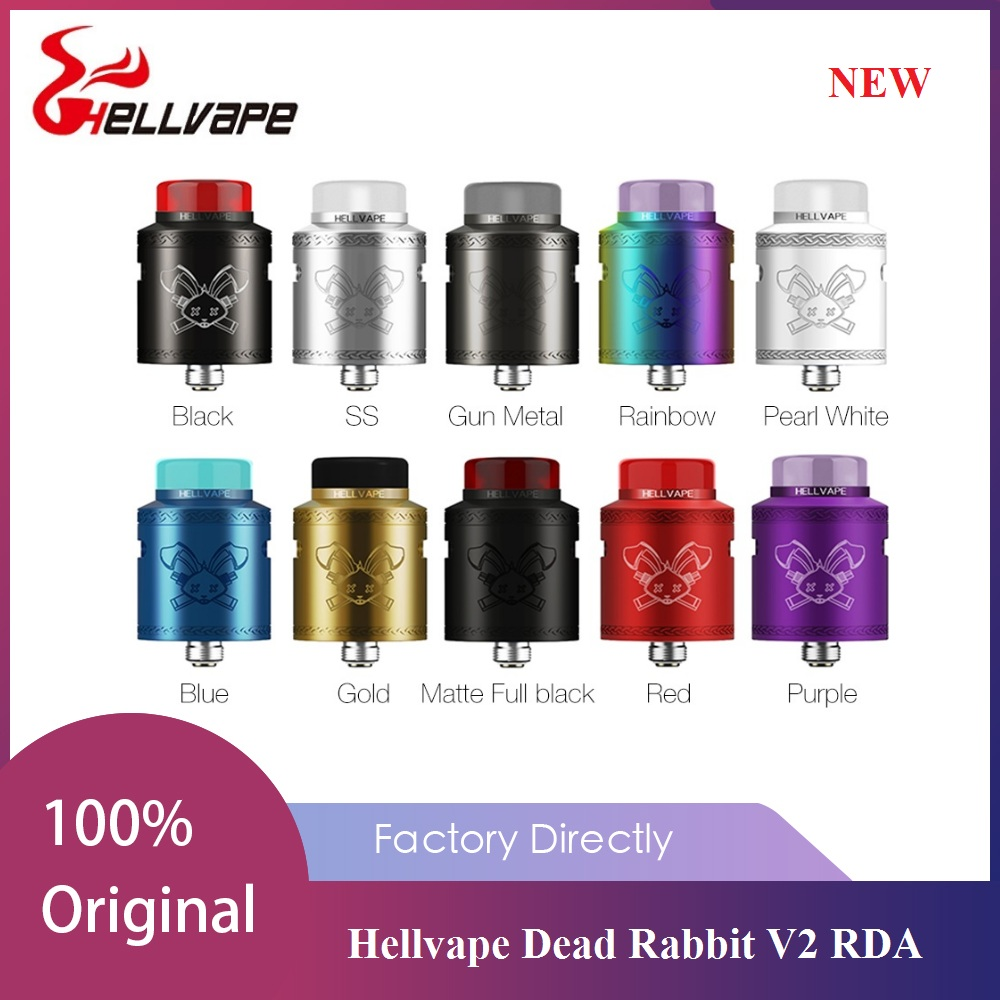 New Hellvape Dead Rabbit V2 RDA Atomizer 24mm Diameter Vape Tank With BF Squonk 510 Pin Box Mod Atomizer VS Dead Rabbit / Zeus X