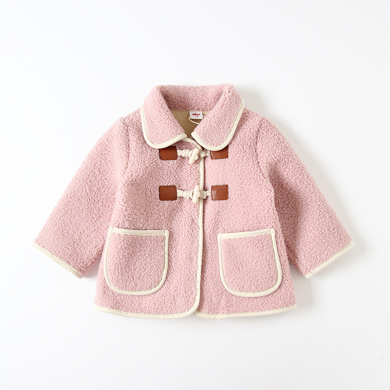 Childrenswear Autumn And Winter New Style 2019 Girls Idea9262 Chao Yang Gas Thick Granule Lambs Wool Kids' Overcoat Women's
