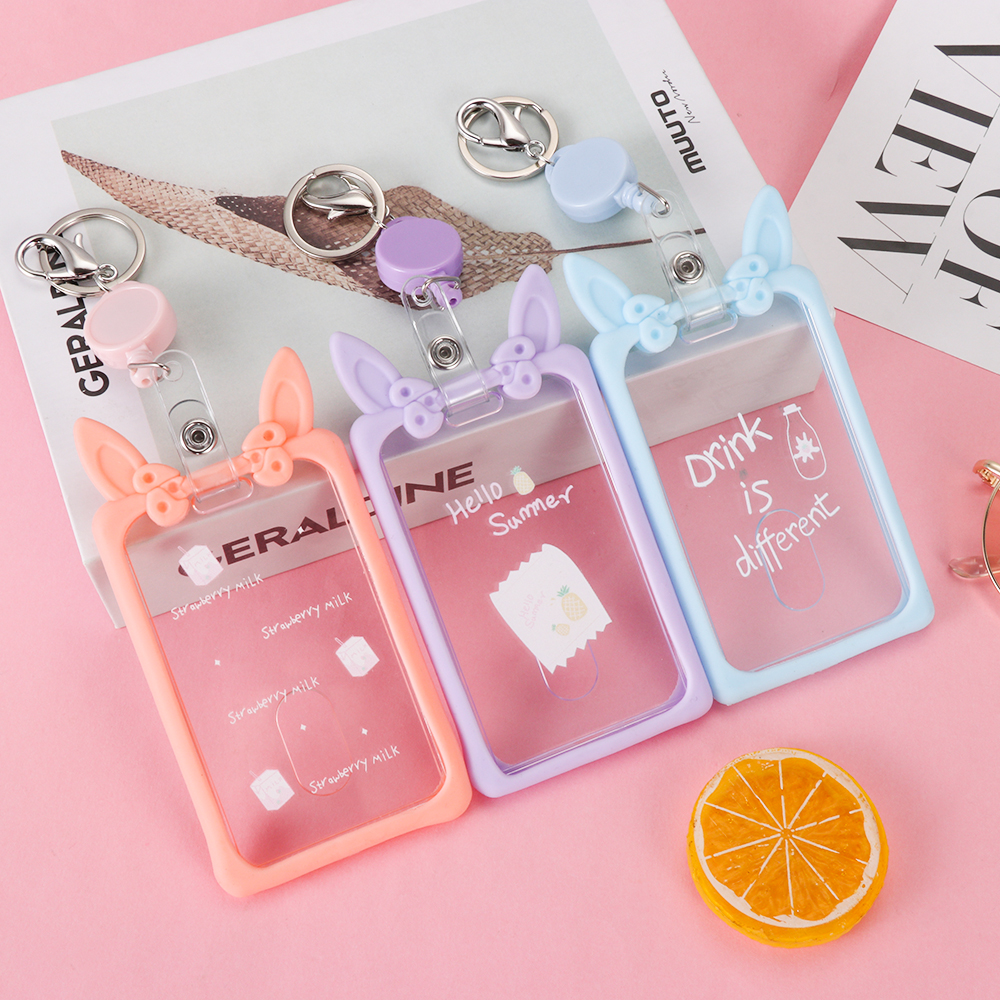 Cute Transparent Women Keychain Badge Card ID Case Silicone Ear Retractable Girl Student Card Holder Pass Cover New Fashion