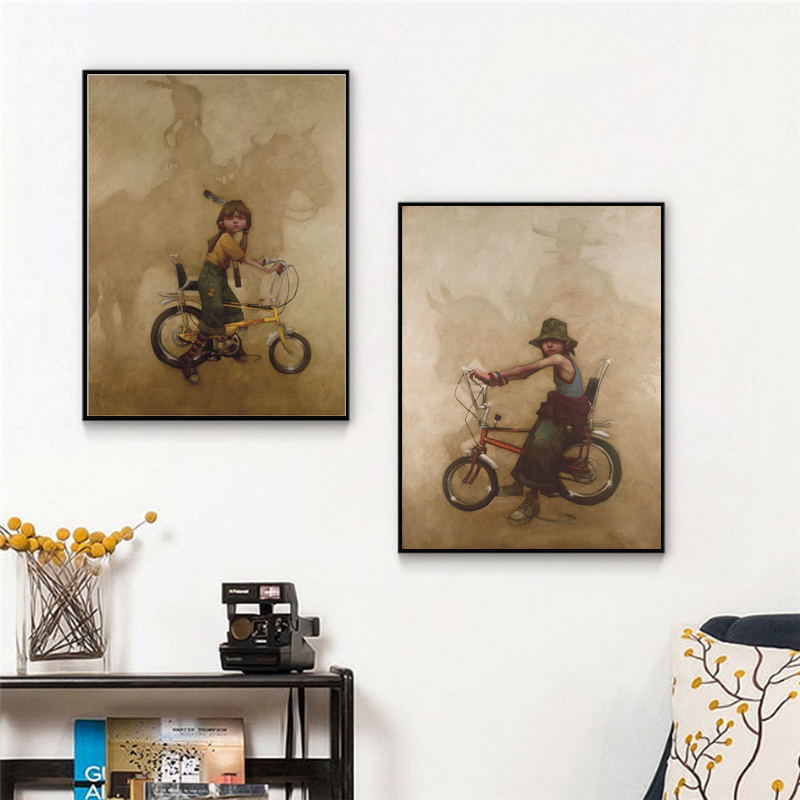 Davisons India Man Western Cowboy Wallpaper Poster Modern Oil Canvas Painting Wall Art Picture Print Home Children Decoration image