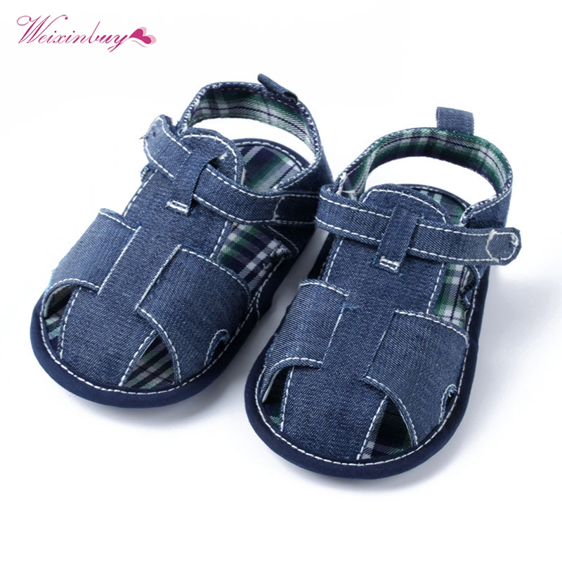 Newborn Baby Infant Boys Summer Shoes Hard Sole Blue Faux Jeans Toddle Shoes
