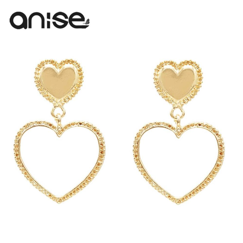 Fashion Gold Hollow Love Heart Drop Earrings For Women Simple Long Heart Shaped Dangle Earrings Statement Party Jewelry Gift
