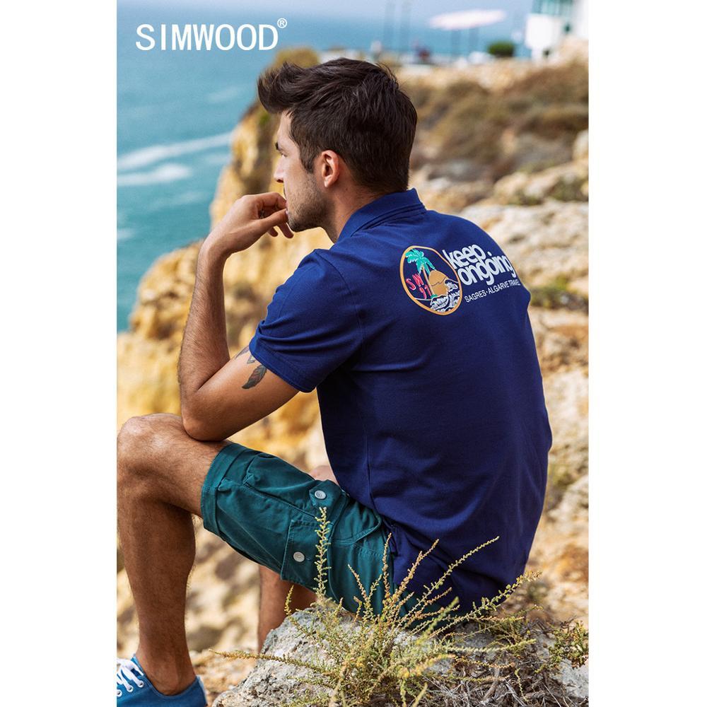 SIMWOOD 2020 Summer New  Polo Shirt Men Fashion Back Pattern Print Short Sleeve 100% Cotton Breathable Plus Size Polo  SJ130072