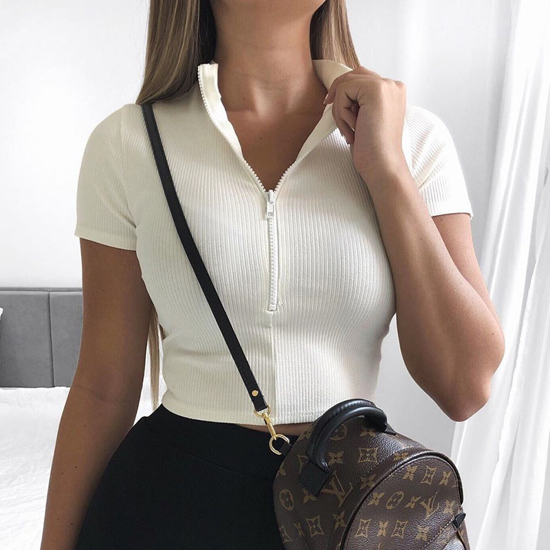 New Fashion Women Slim Fit Zipper T-shirt Female Bustier Corset Tops High Neck Women Croped Tops Tee Solid Shirt White