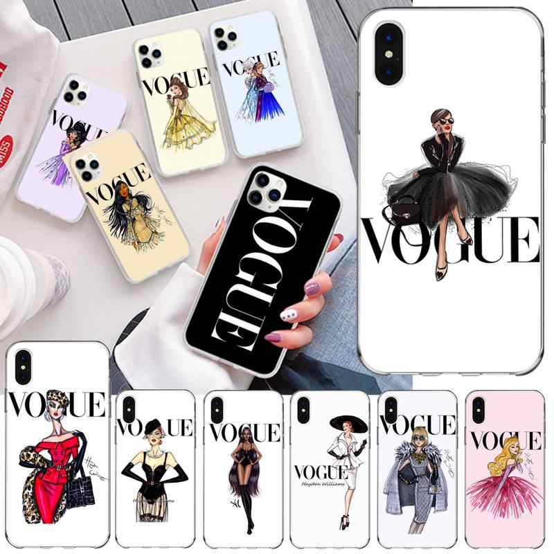 Vogue fashion Charming Painting Women Coque Shell Phone Case for iPhone 11 pro XS MAX 8 7 6 6S Plus X 5S SE 2020 XR cover