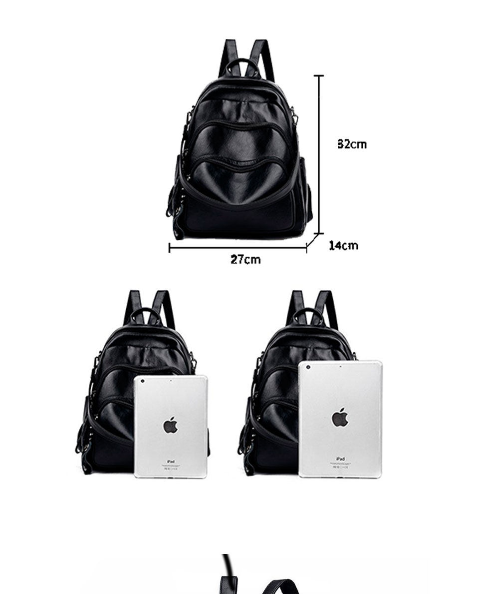 ACELURE Ladies Solid Colour Backpack Smooth PU Leather