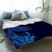 Фланелевое Одеяло с рисунком Феникса цветное Флисовое одеяло