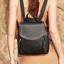 2020 New Fashion Women Backpack Genuine Leather Women Shoulder Bag Lady Travel Rucksack College Student Bagpack стоимость