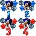 6 шт. с изображениями мультипликационных персонажей Sonic зубная щётка Фольга шары набор номер Globos Happy День рождения украшения детский душ пос...