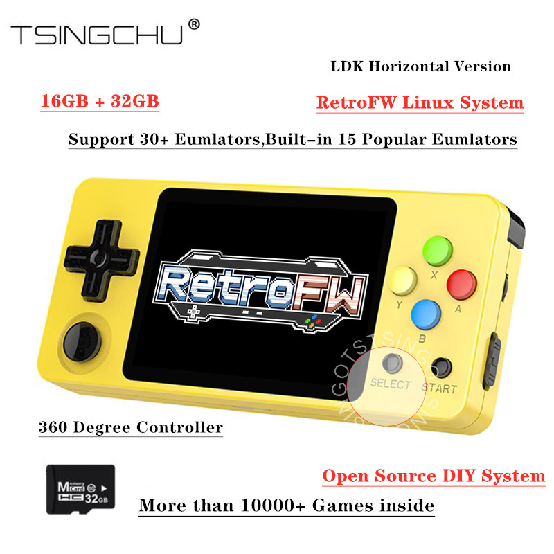 TSINGO Upgraded LDK 2 0 Game Console 2 7inch Screen Open Source Linux RetroFW System 16GB