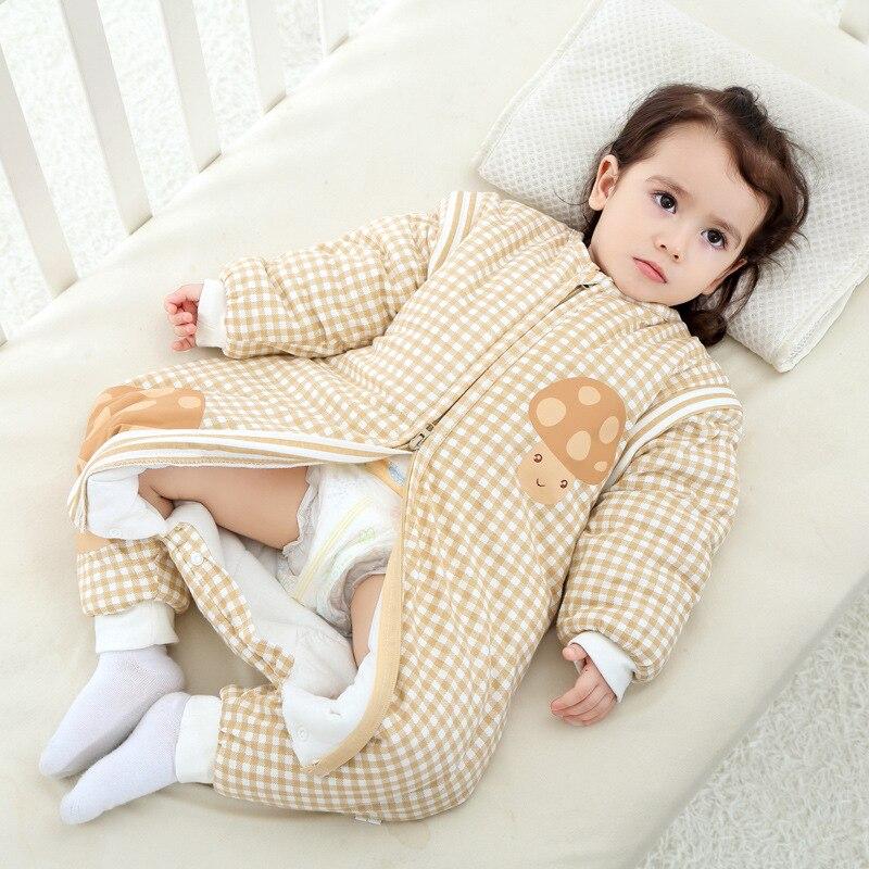 Cotton Baby Sleeping Bag Long Sleeve Children Sleep Sack Winter 0-4 Years Newborn Envelope Plaid Children Swaddle Sack