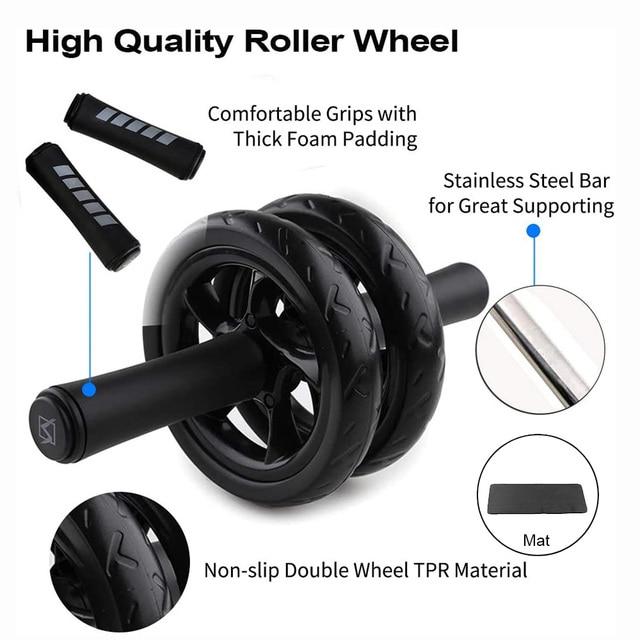 AB Roller AB Roller Noise Free Non-slip Abdominal Wheel For Men Women Exercise Fitness Equipment Gym. - FitnessKim