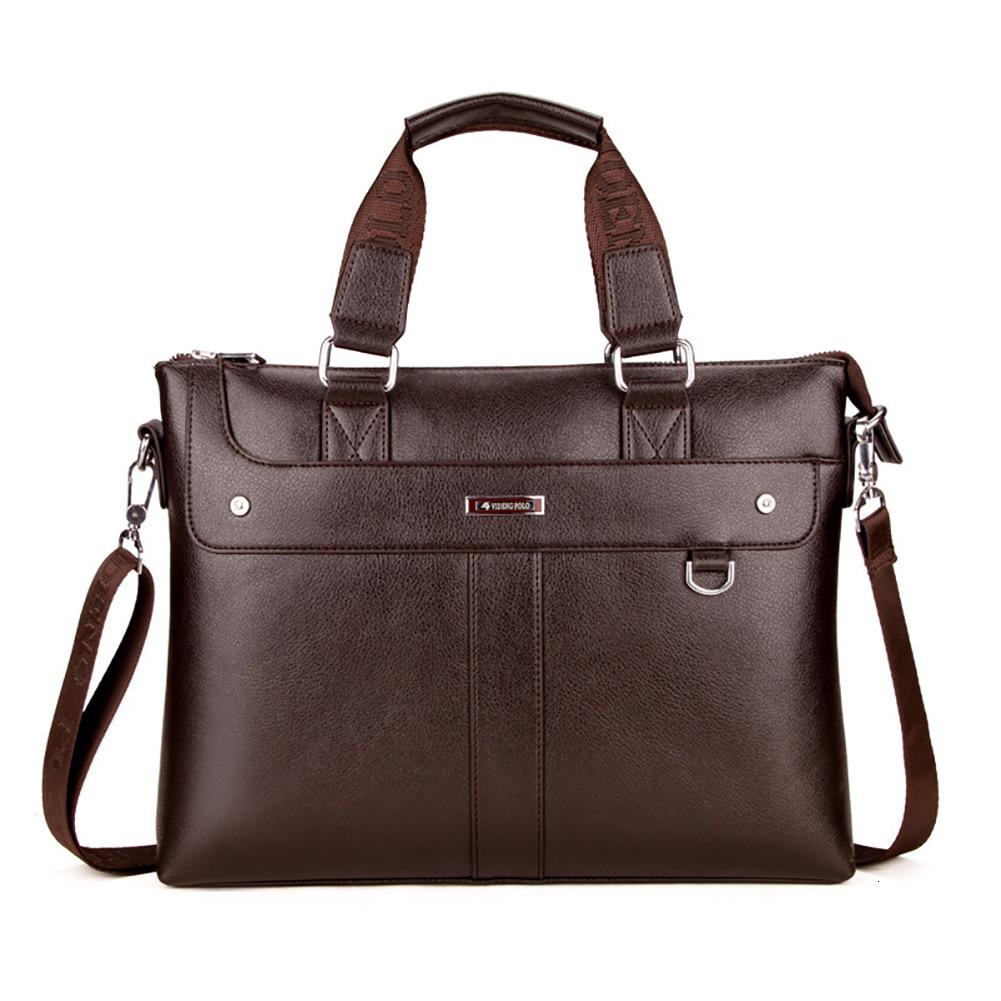 New Men PU Leather Briefcase Business Handbag Shoulder Messenger Bag Computer Laptop Handbag Bag Men's Travel Bags