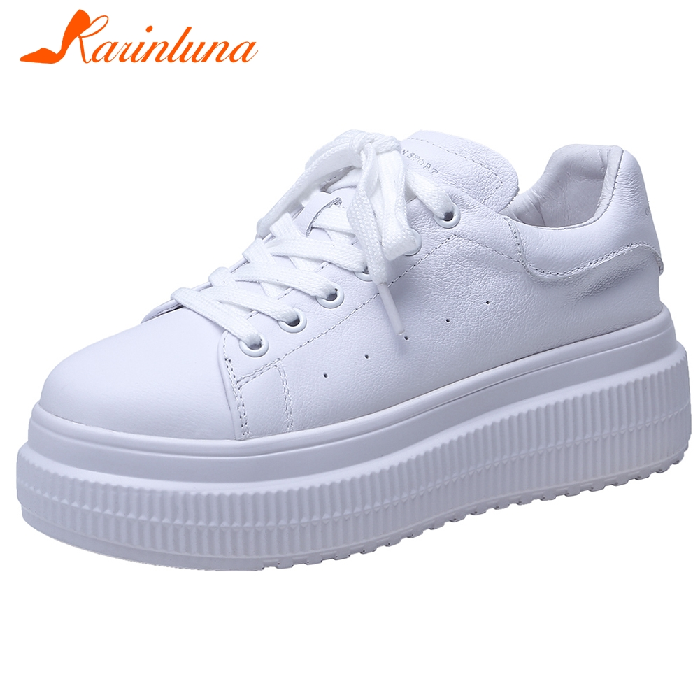 KARINLUNA Brand New Girl Lace Up Casual Sneakers Fashion Spring Autumn Flats Women Genuine Leather Flat Platform Shoes Woman