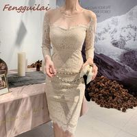 Autumn Winter Women Dress 2019 Casual Vintage Solid Hollow Out Lace Dress Female Elegant Sweet Slim Plus Size Beige Lace Dresses