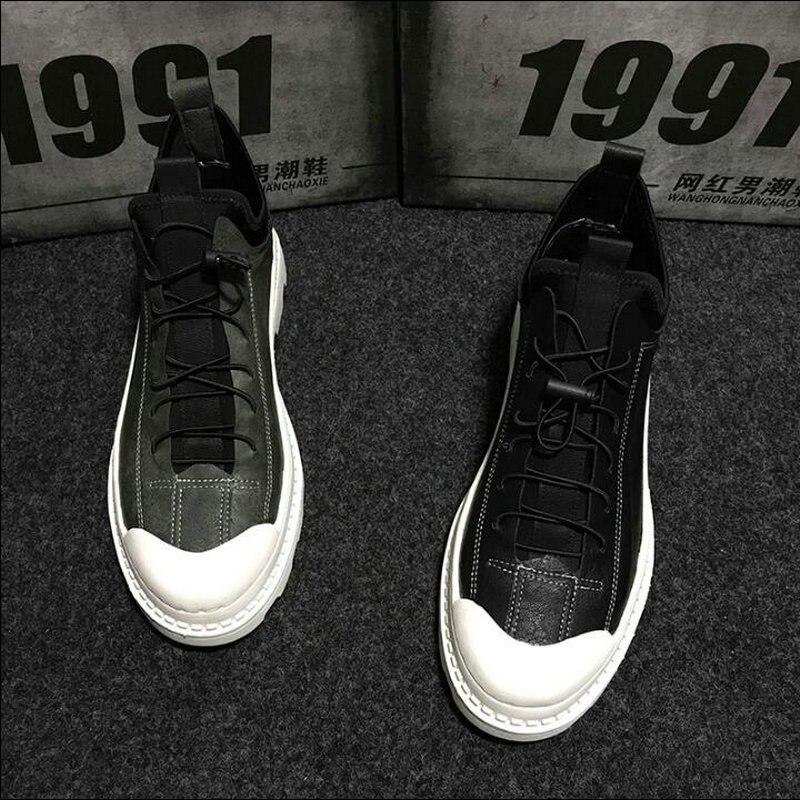 2019 mode Design mâle rétro baskets à lacets chaussures plates Hip hop noir gris hommes chaussures décontractées haut toile chaussures ghn8