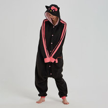 цены Black Kitty Kigurumi Women Girl Home Pajama Animal Cat Jumpsuit Polar Fleece Onesie Festival Halloween Christmas Cute Outfit