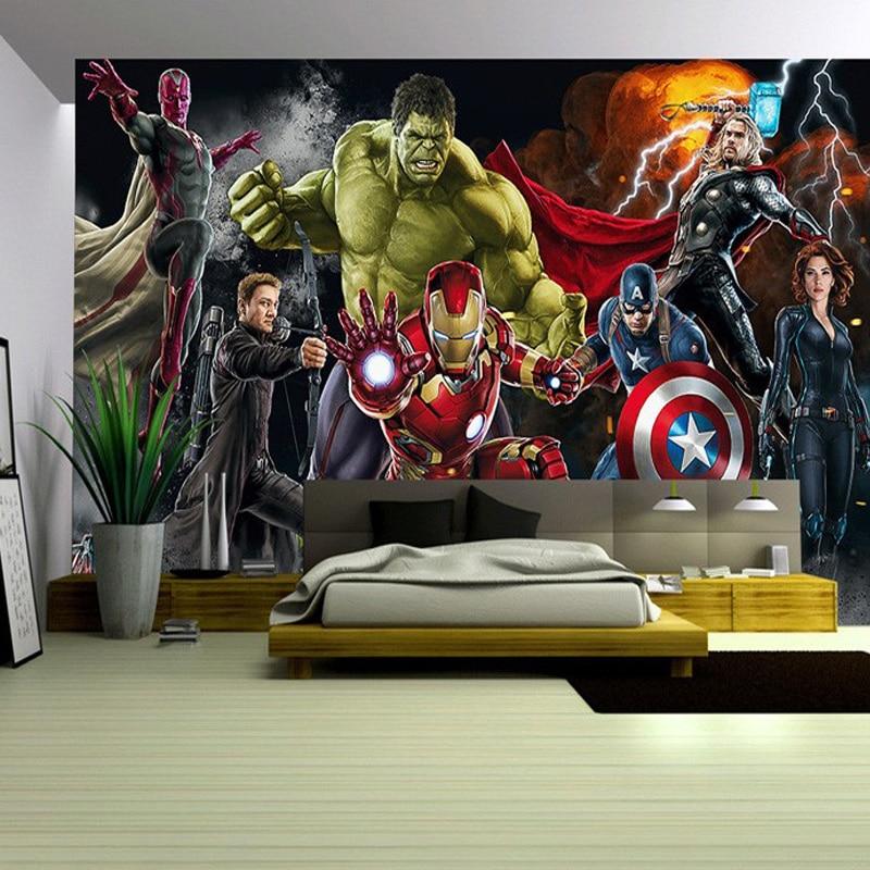 Jointless Avengers Photo Wallpaper Custom 3D Wallpaper For Walls Captain America Wall Mural Boy Living Room TV Background