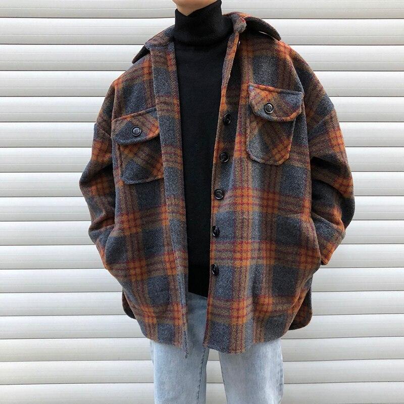 Winter Woolen Coat Men Warm Overcoat Fashion Retro Hit Color Tartan Woolen Jacket Men Streetwear Loose Long Woolen Jacket Man