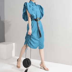 [EAM] Women Blue Drawstring Pleated Shirt Dress New Round Neck Short Puff Sleeve Loose Fit Fashion Spring Summer 2020 1U50505