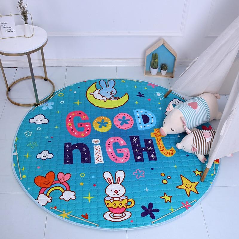 Hf07ff7334e7349e6908263dc0fdc87f3N Kid Soft Carpet Rugs Cartoon Animals Fox Baby Play Mats Child Crawling Blanket Carpet Toys Storage Bag Kids Room Decoration