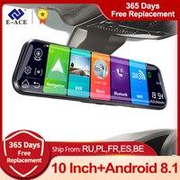 E-ACE D13 4G Auto Dvr 10 Pollici Specchio Dash Cam Android 8.1 GPS di Navigazione Videocamera Per Auto Auto Registratore ADAS di SOSTEGNO 1080P Macchina Fotografica di Retrovisione
