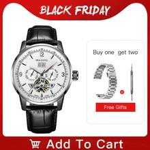 カモメビジネス腕時計メンズ機械式腕時計カレンダー週50メートル防水黒革バックル男性腕時計219.328